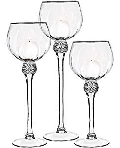 Palais Glassware Elegant Bougeoir Collection, Set of 3 Hurricane Candle Holders (Clear with Silver Diamonds and Rims) from Palais Glassware