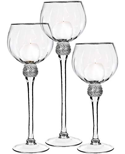 Palais Glassware Elegant Bougeoir Collection, Set of 3 Hurricane Candle Holders (Clear with Silver Diamonds and Rims)