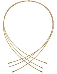 14k Two-tone Yellow and White Gold Triple Wire Choker Collar Necklace