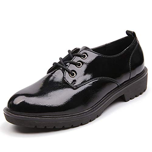 Leather Patent Leather Oxfords - AIMEIGAO Women's Black Oxfords, Patent Leather Oxford Shoes for Women (5.5 M US=Heel to Toe 9 inch)