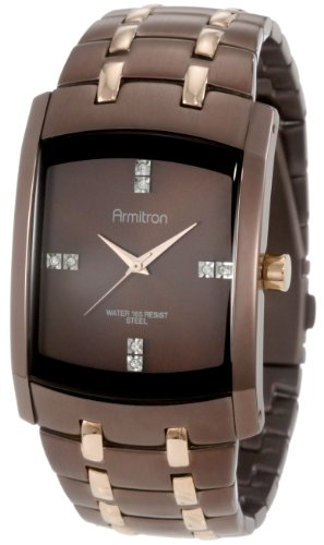 Armitron Men s 20 4507BNRG Swarovski Crystal Dial Brown Ion-Plated and Rosegold-Tone Bracelet Watch