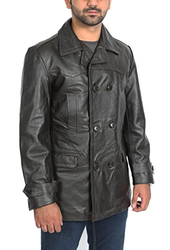 Mens Real Leather Double Breasted Reefer Peacoat Gents Jacket Salcombe Brown (Small)