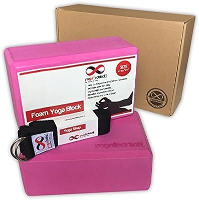 YogaAddict Foam Yoga Blocks 2 Pack and Yoga Strap Set with Box Improve Flexibility and Strength Set Deepen Poses Yoga Pilates