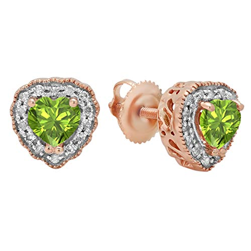 Dazzlingrock Collection 14K 5 MM Each Heart Shaped Peridot & Round White Diamond Ladies Halo Stud Earrings, Rose Gold