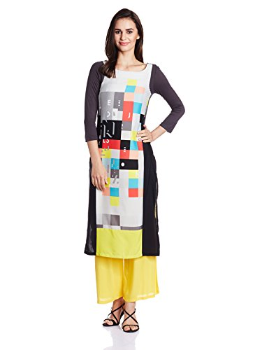W-for-Woman-Womens-Soda-Pop-Round-Neck-34-Sleeve-Print-Kurta-Size-12-Grey