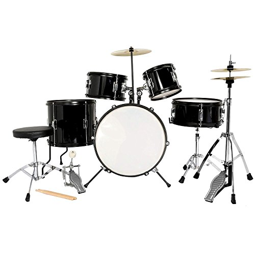 LAGRIMA Full Size 5 Piece Complete Adult Drum Set with Stand, Cymbals, Hi-Hat, Pedal, Adjustable Drum Stool and 2 Drum Sticks, Black, 22 Inches