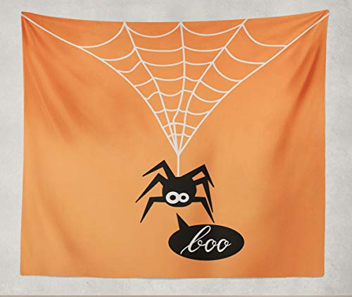 Darkchocl?Home?Decor?Tapestry,Cute Spider Orange Spider Halloween Party Spider Say Boo,60?x?80?inch?Tapestry Polyester Fabric Print Wall?Art for Dorm Room Living Room Bedroom