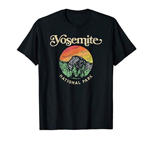 - Yosemite National Park Retro Sixties Vibe Half Dome Graphic T-Shirt