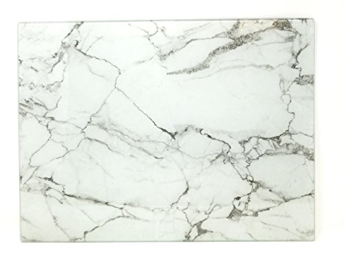 (Cutting Board, Serving Tray, Tempered Glass Marble Design 16