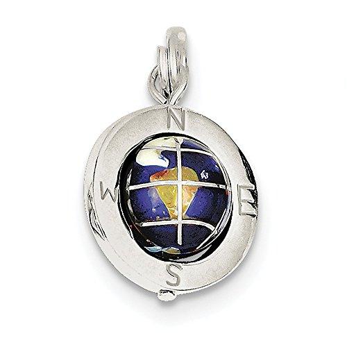 Enameled Globe Charm - Sterling Silver Enameled Globe Charm