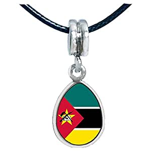 Chicforest Silver Plated Mozambique flag Photo Angel Tears Charm Beads Fits Pandora Charm Bracelet