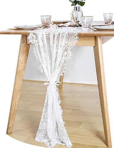 QueenDream Table Runner White Lace Table Runner 30x120 inch 1 Piece for Wedding Spring Summer Outdoor Garden -