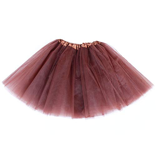 Lalapixie Tutu Skirts for Women Adult Plus Size Tutu 3 4 5 Layer (4Layer Brown, XL) -