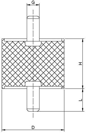 MULTI 4 St/ücke Zylindrisch Gummipuffer Schwingungsd/ämpfer Gummid/ämpfer Silentblock gegen vibration 2-seitigem Gewinde Typ A F/ür Klimaanlagen Luftkompressoren Motoren Pumpen