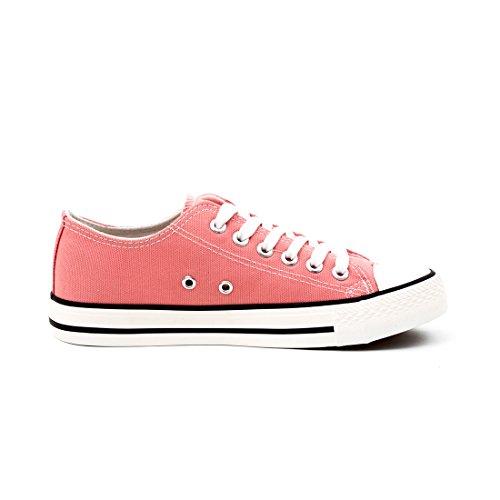 Trendige Damen Kinder Low Top Textil Coral Canvas Pink Herren Schnür Schuhe Sneaker Unisex r5qEYxr