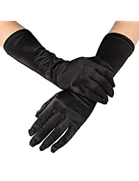 RUNHENG Women's Evening Party 15 inch Long Sillky Satin Finger Gloves (Black)