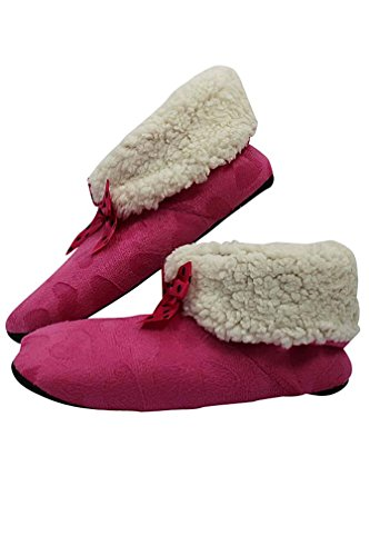 Divas De Lujo Rosa Púrpura Y Corazones Marrón Felpa Forro Polar Zapatillas 3 Paquete