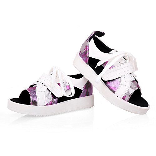 VogueZone009 Women's Frosted Lace up Open Toe Low Heels Assorted Color Sandals Purple dhY02Wi