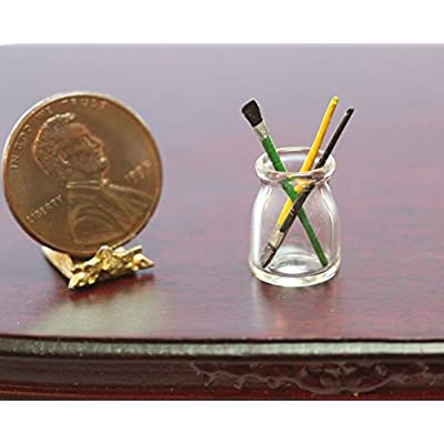 Dollhouse Miniature Glass Jar with 3 Artists Brushes: Toys & Games