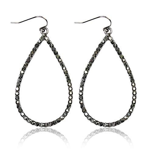 (Sparkly Simple Lightweight Geometric Open Hoop Drop Earrings - Cut-Out Dangles Teardrop/Pear/Pointy Oval/Marquise/Circle Cubic Zirconia Crystal/Multi Rhinestone/Acrylic Pearl (Teardrop - Hematite))