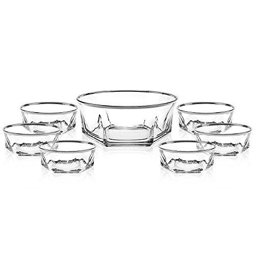 Elegant Luxury Crystal 7 Piece Serving Salad Bowl Set with Silver Trim. 1 Large and 6 Small. Made of Fine Imported Glass. by Le'raze (Image #3)