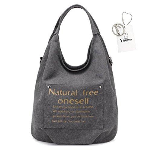 Capacity Hobo Purse Bags Grey Yoome Shoulder Canvas Fashion Large Letter Ladies Handbag Totes Vintage wPPUxIqaZ7