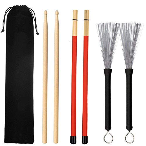 Drum Sticks Set, Oneup 1 Pair 5A Maple Wood Drum Sticks 1 Pair Drum Wire Brushes Retractable Drum Stick Brush and 1 Pair Rods Drum Sticks with Storage Bag for Jazz, Folk