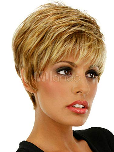 Fidgetgear Quality Gold Dark Blonde Curly Synthetic Short Wig For Women S Hair Wigs Amazon In Home Kitchen