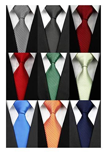 100% Silk Tie - Wehug Lot 9 PCS Classic Men's tie 100% Silk Tie Woven Jacquard Neckties Solid Ties for men style001