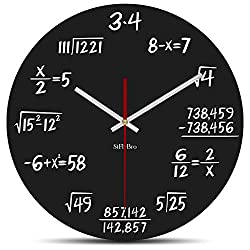 StFlyBro Silent Sweep Math Wall Clock Include 2 Non Ticking Motors and Clock Hands Solutions of Equations are Equal to Time