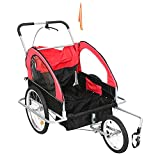 QWERTOUY 2 in 1 Pet Dog Bike Trailer Bicycle Trailer Stroller Jogging Suspension Red