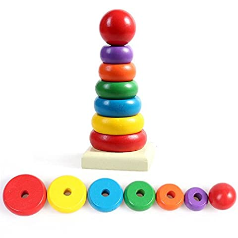 PeachFYE Kids Baby Toy Wooden Stacking Ring Tower Educational Toys Rainbow Stack Up Play