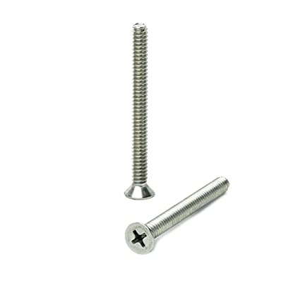 Stainless Steel 18-8 Quantity 100 By Fastenere Phillips Drive 4-40 x 3//8 Flat Head Machine Screws Machine Thread Bright Finish Full Thread