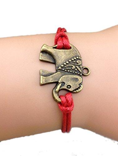 Bracelet rouge elephant couleur bronze