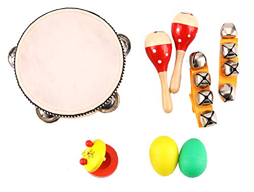 Zochoose Kids Musical Instrument, Wooden Musical Instrument for Toddlers, Includes Tambourine, Castanet, Maracas, Whistle-Great Music Toys Set