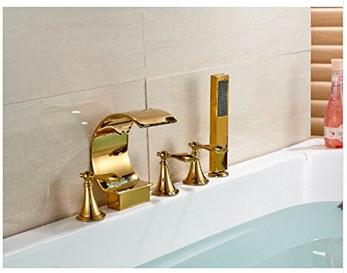 Gowe Deck Mounted C Curved Bathroom Tub Faucet Waterfall Sink Mixer With Hand Shower 1