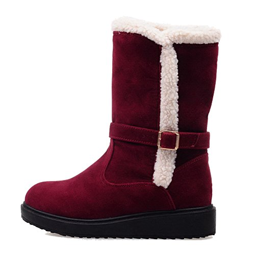 Solid Frosted Womens Claret low Boots heels Pull Low AllhqFashion top on qZTwY