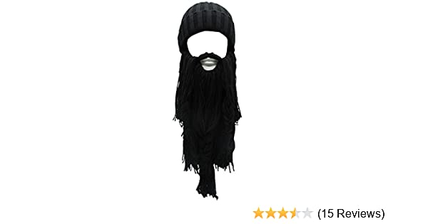 Amazon.com  Flyou Adult Viking Beard Beanie Horn Hat Winter Warm Mask Hat  Knitted Wool Funny Skull Cap (Black)  Clothing 78272f81e