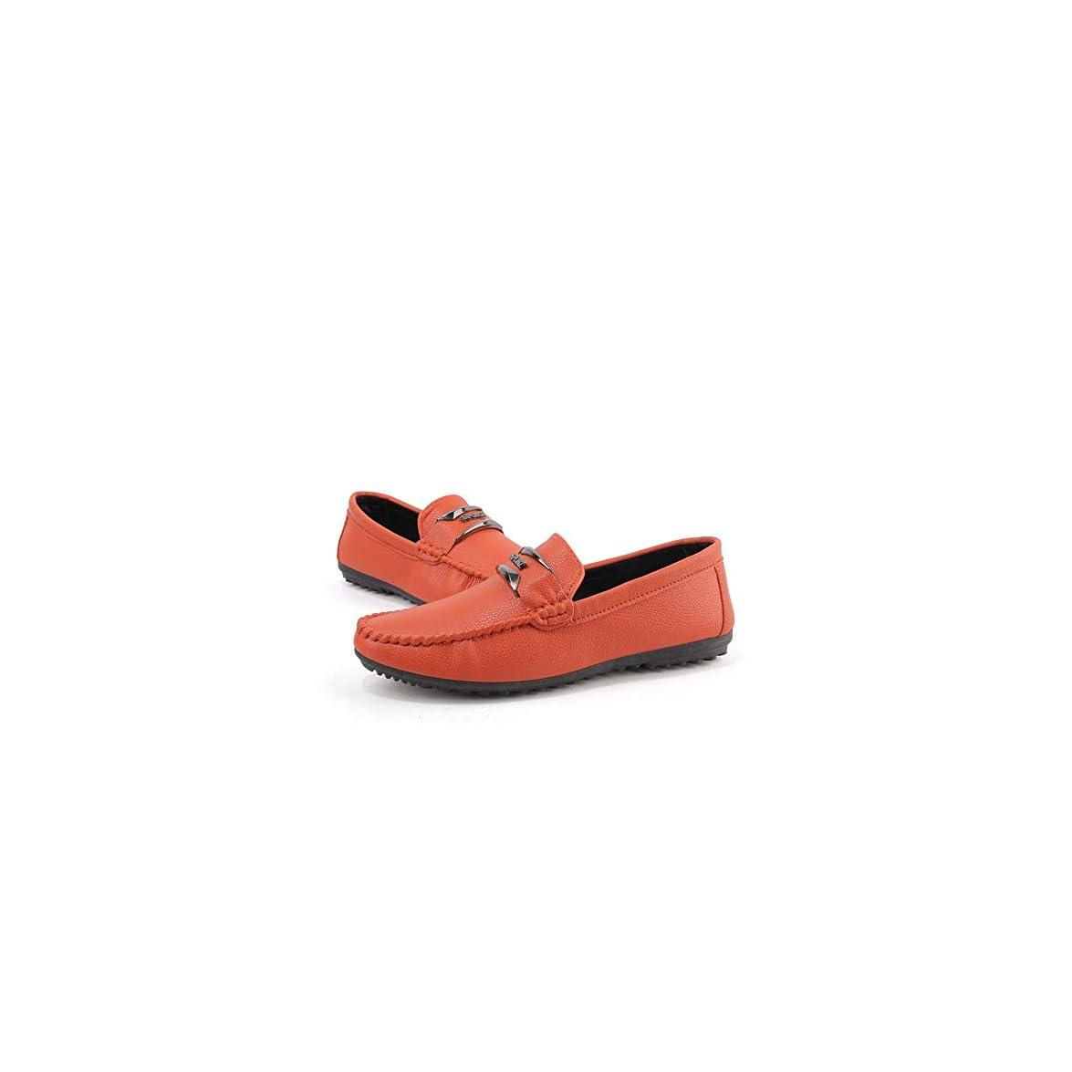 Yjiaju Mocassino Da Guida Uomo Casual Morbida Suola In Pelle Traspirante Per Il Tempo Libero Barca color Orange Dimensione 40 Eu
