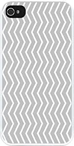 Rikki KnightTM Grey Chevron Zig Zag Stripes Design iPhone 4 & 4s Case Cover (White Rubber with bumper protection) for Apple iPhone 4 & 4s
