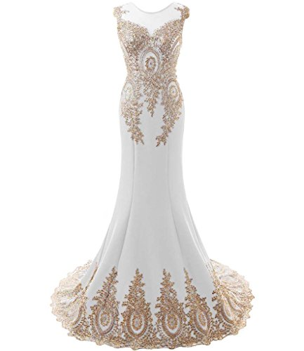 Kivary Women's Gold Lace Sexy Mermaid Sheer Formal Corset Prom Evening Dresses Ivory US 16W by Kivary
