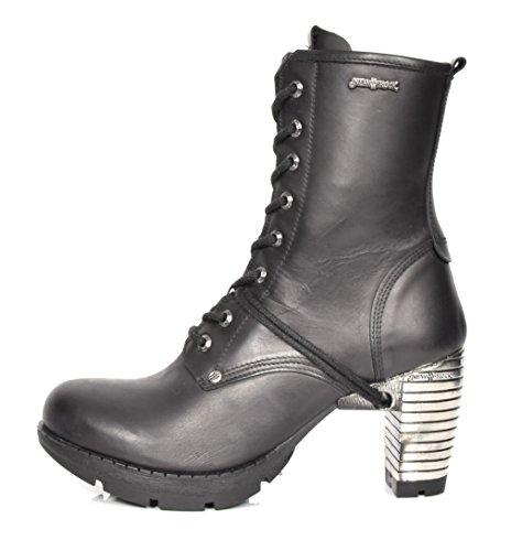 New Rock Leder Knöchel Stiefel Blockabsatz Runder Zeh Klassisch Schuhe Schwarz