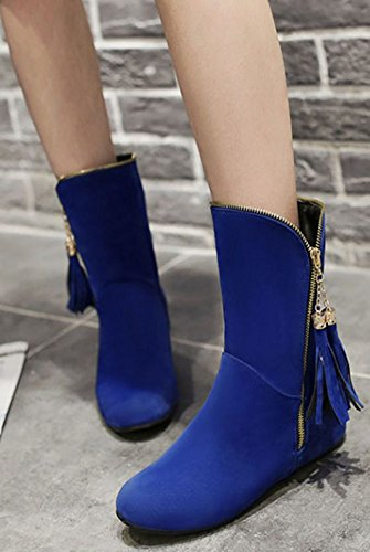 Faux Elegant Calf Wedged Booties Round Suede Easemax Toe Heel Low Blue Fringe Mid Women's Hidden EnU87x5