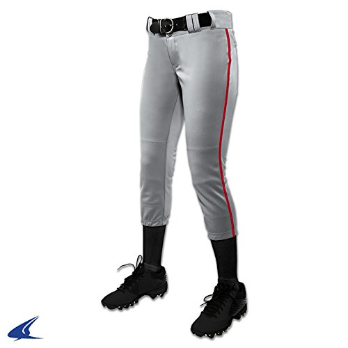 Champro Women's Low Rise Tournament Fastpitch Pants w/ Piping - Grey/Scarlet - ()