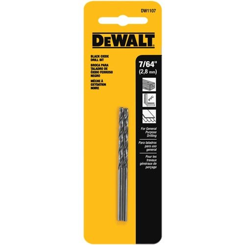 DEWALT DW1107 7/64-Inch Black Oxide Split Point Twist Drill Bit (2-Pack)
