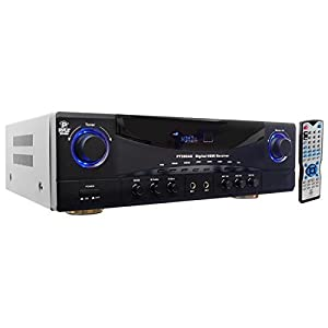 Home Audio Power Amplifier System – 350W 5.1 Channel Theater Stereo Receiver Box, Surround Sound w/ HDMI, RCA, AUX, Mic w/ Echo, LED, Remote – For Subwoofer Speaker, TV – Pyle PT590AU