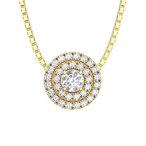 Fusion Halo Diamant Argent Pendentif or jaune)