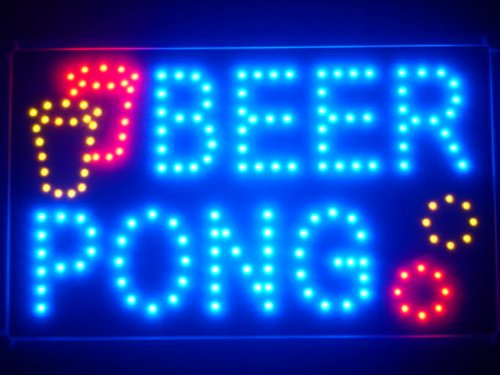 r Pong Bar Pub LED Neon Business Light Sign ()