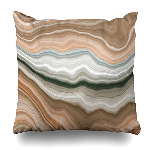 Marble Beige Cream - AileenREE Throw Pillow Covers Cream Beige Stone Wide Onyx Slice Marble Nature Streak Brown Agate Section Arabic Aragonite Design Pillowcase Square Size 20 x 20 Inches Home Decor Cushion Cases