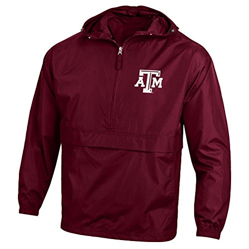 Aggies Water A&m Texas (Champion NCAA Men's Half Zip Front Pocket Packable Jacket Texas A&M Aggies Small)
